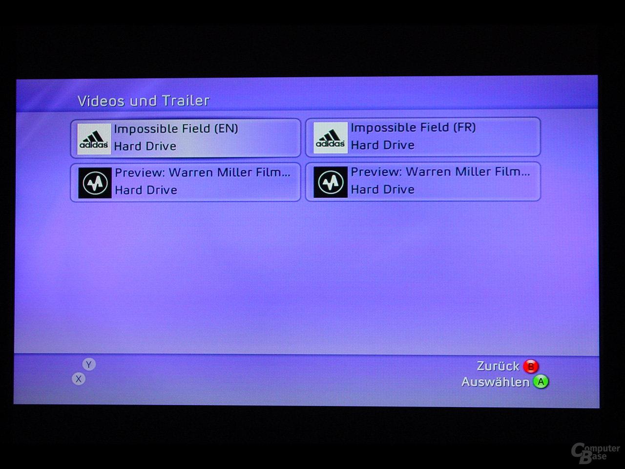 Benutzeroberfläche - Verwalten der Videos