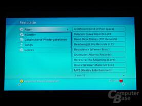 Benutzeroberfläche - Musik von der Festplatte