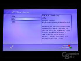 Benutzeroberfläche - HDTV-Einstellungen