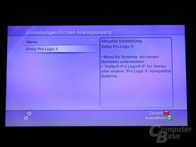 Benutzeroberfläche - Einstellungen für den analogen Audioausgang
