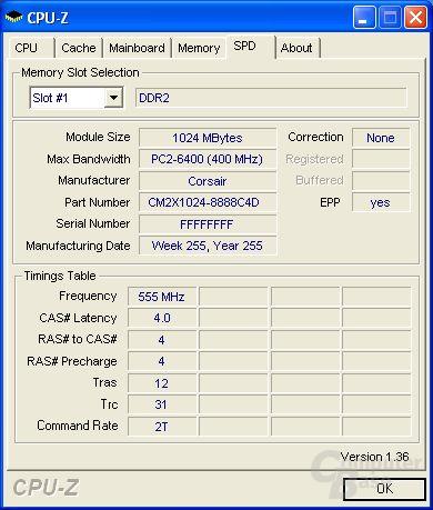 Mit CPU-Z ausgelesene SPD-Informationen