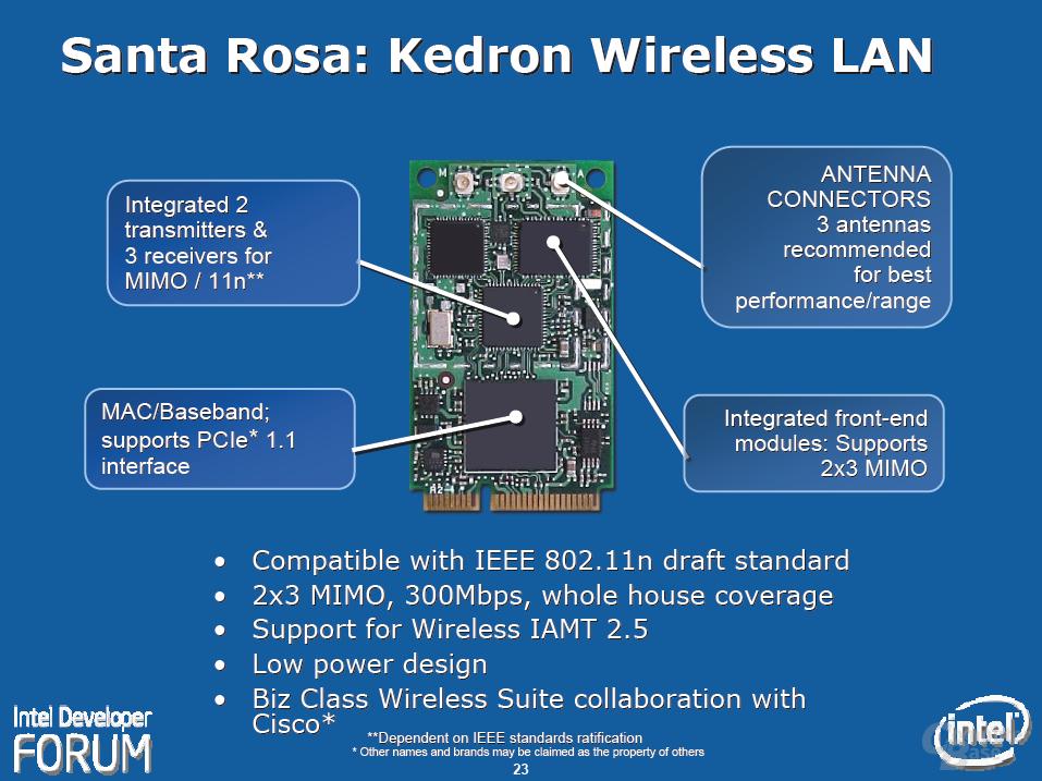 """Intels """"Santa Rosa""""-Plattform – Kedron Wireless LAN"""