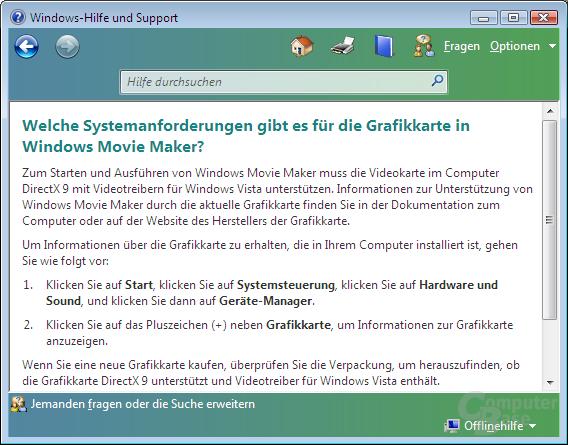 Movie Maker benötigt eine DirectX 9-Grafikkarte