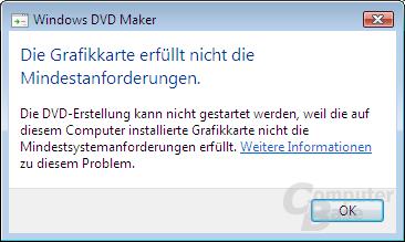 DVD Maker Anforderung mit Intel GMA 900 (auf 915-Chipsatzfamilie) nicht erfüllt