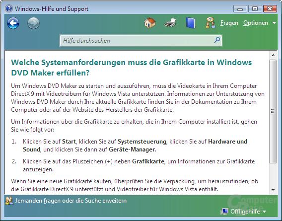 DVD Maker benötigt eine DirectX 9-Grafikkarte