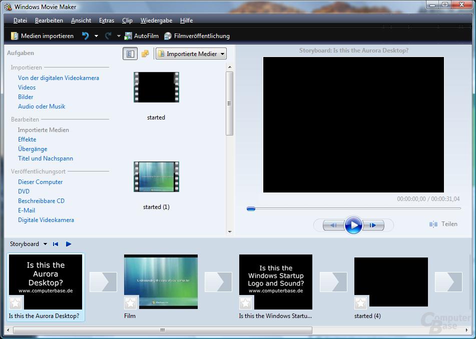Windows Movie Maker mit GeForce 7800 GT