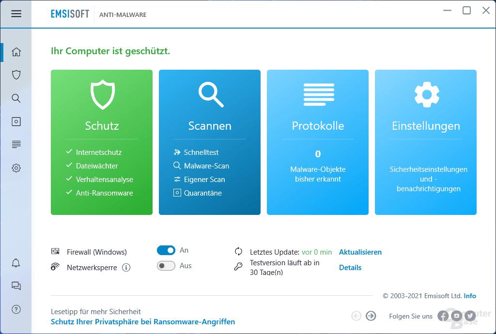 Emsisoft Anti-Malware – Übersicht