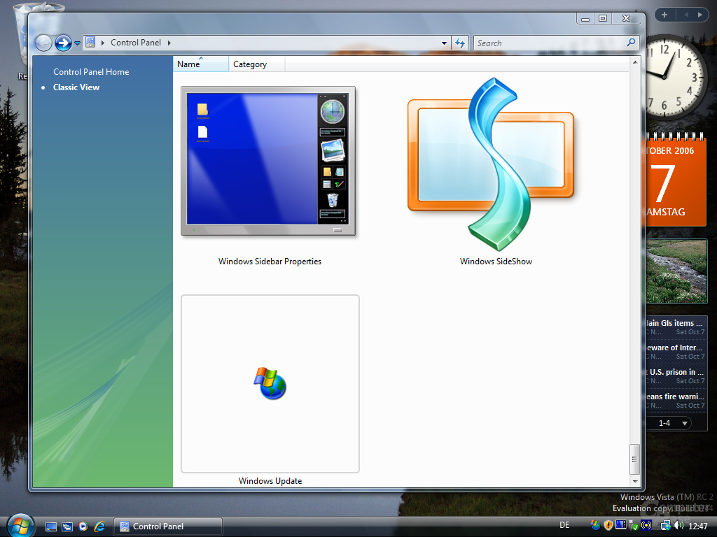 Windows Vista RC2 eng - Neues Logo für Sideshow