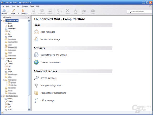 Mozilla Thunderbird 2.0 Nightly – Hauptfenster