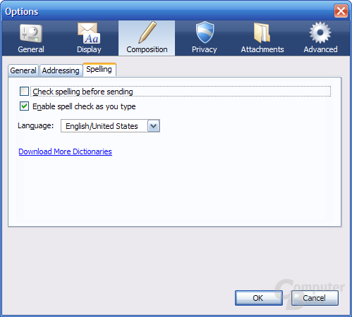 Mozilla Thunderbird 2.0 Nightly – Einstellungen