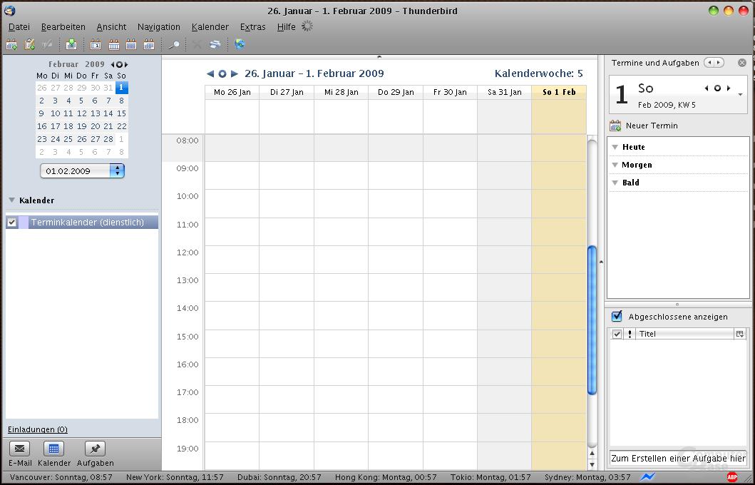 Lightning Integration in Mozilla Thunderbird