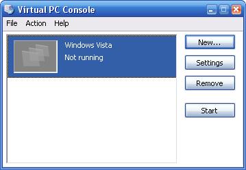 Virtual PC 2007 Beta Build 6.0.122.0