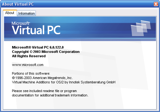 Virtual PC 2007 Beta Build 6.0.122.0