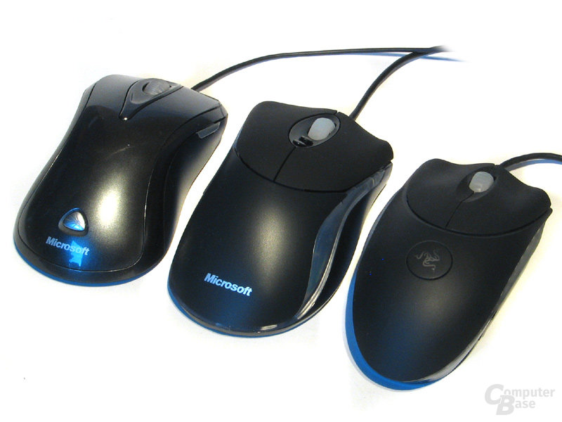 Links: MS Laser 6000, Mitte: MS Habu, Rechts: Razer Copperhead