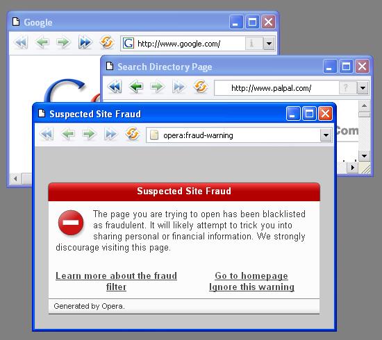 Opera 9.1 Phishing-Schutz