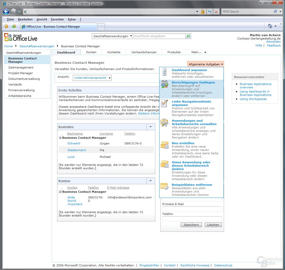 Office Live Business Contact Manager Dashboard Allgemeine Aufgaben