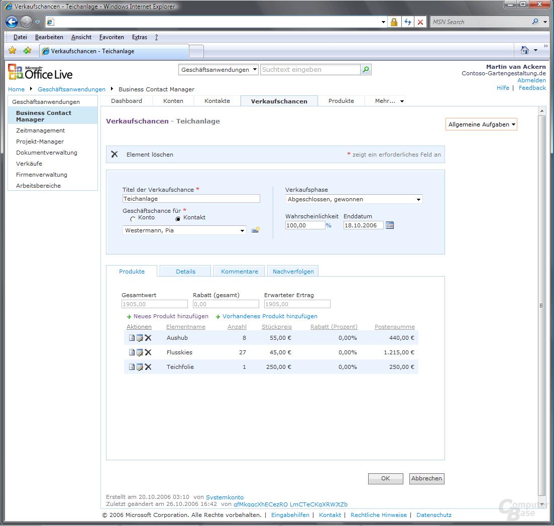 Office Live Business Contact Manager Dashboard Verkaufschancen Bearbeiten