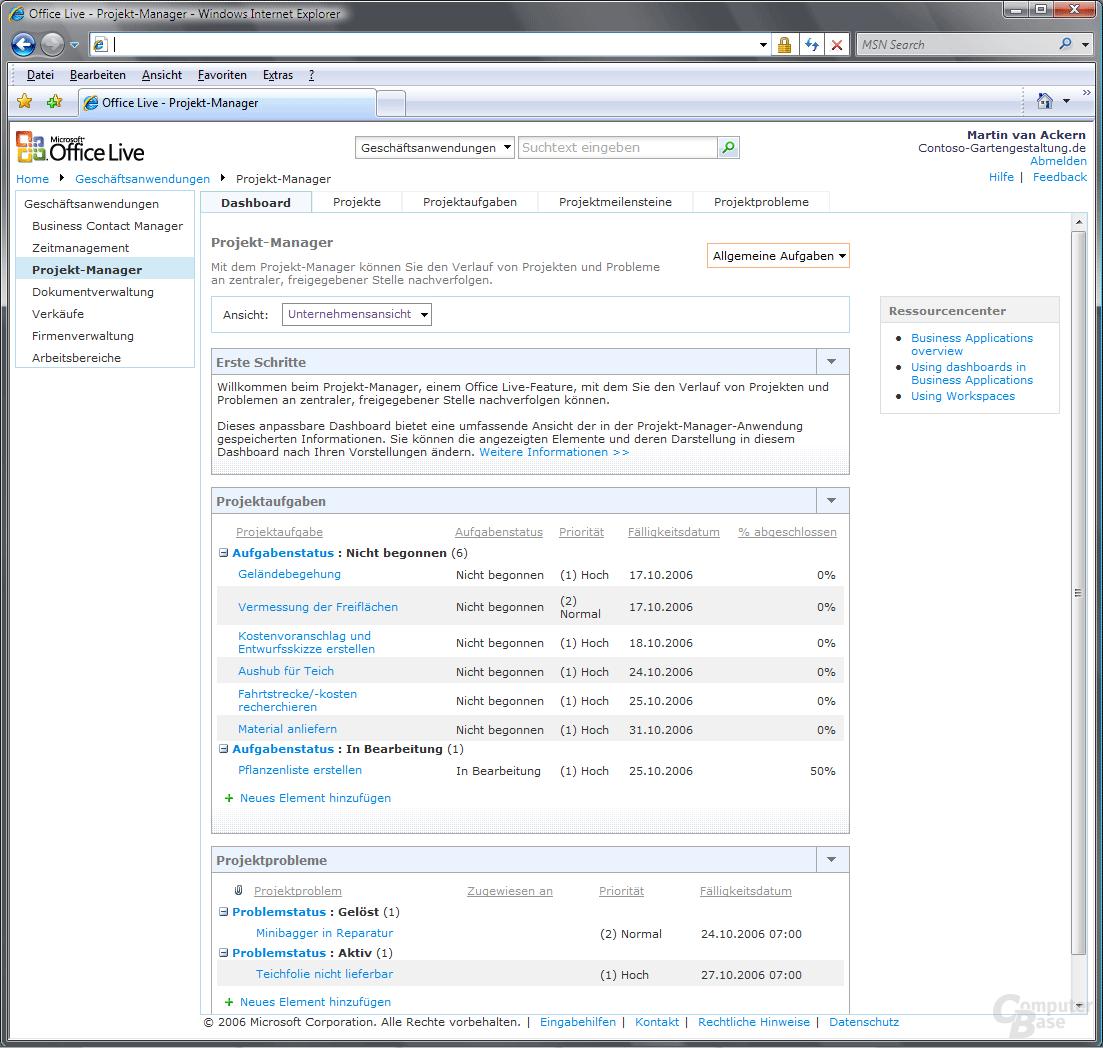 Office Live Projekt Manager Dashboard