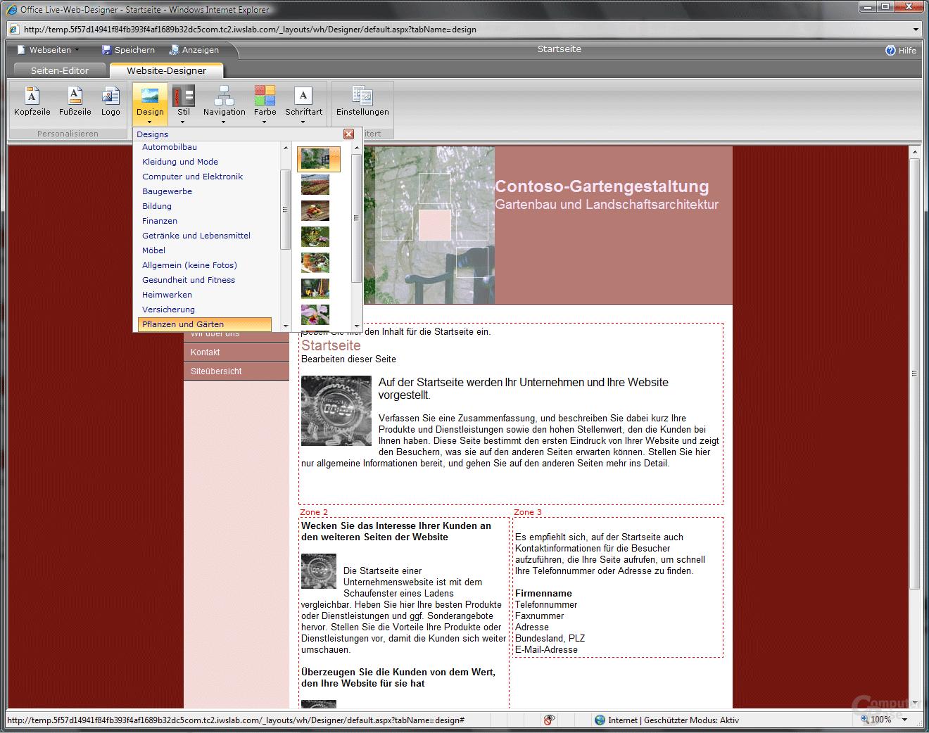 Office Live WebDesigner WebseitenDesigner