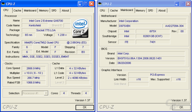Intel Core 2 Extreme QX6700 (Kentsfield) ohne Probleme auf D975XBX (Bad Axe)
