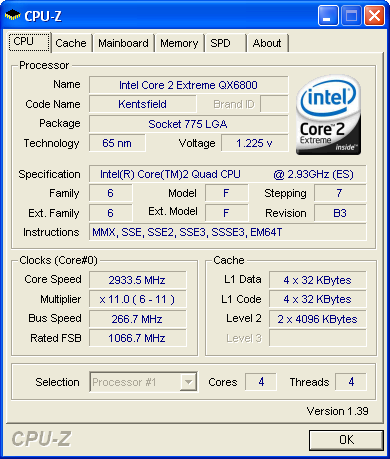 Intel Core 2 Extreme QX6800 (CPU-Z)