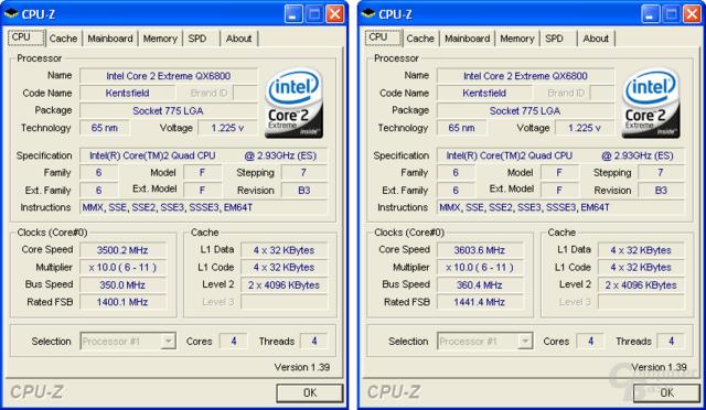 Intel Core 2 Extreme QX6800 (Overclocking) –  3,5 GHz (stabil) und 3,6 GHz (instabil) bei Luftkühlung
