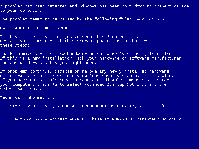 Microsoft Windows XP Blue Screen of Death
