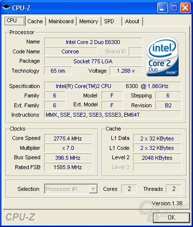 Asus P5W DH Deluxe CPU-Z CPU max