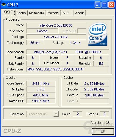 Asus P5B-E Plus CPU-Z CPU max