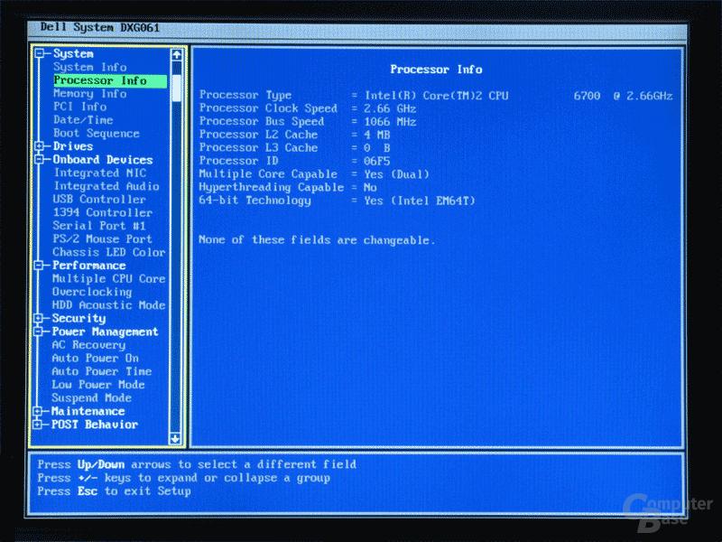 Schmales BIOS: Systeminformationen