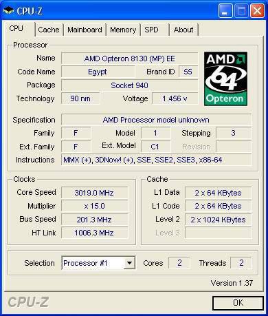 AMD Athlon FX-74 in der CPU-Z-Erkennung