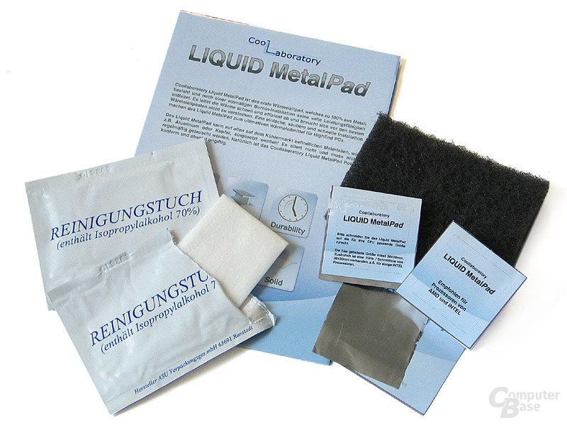 3 x MetalPad, 2 x Reinigungsalkoholtücher, 1 x Metallschliffpad, 1 x Anleitung