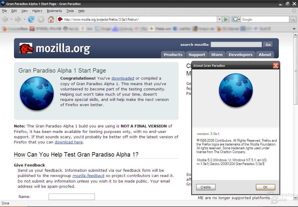 Firefox 3.0 Gran Paradiso