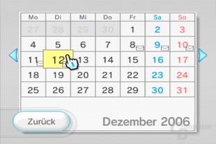 Wii-Pinnwand: Kalenderansicht