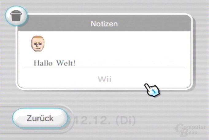 Wii-Pinnwand: Notizen lesen
