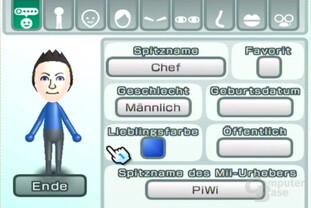 Mii-Kanal: Personendaten