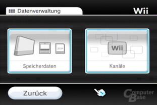 Datenverwaltung: Spielstände oder Wii-Kanäle