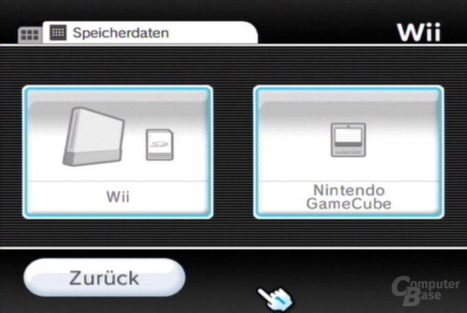 Datenverwaltung: Wii- oder GameCube-Spielstände