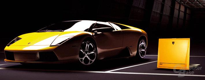 "Asus verlost das zum Lamborghini  passende Notebook ""Lamborghini VX1"" (rechts)"