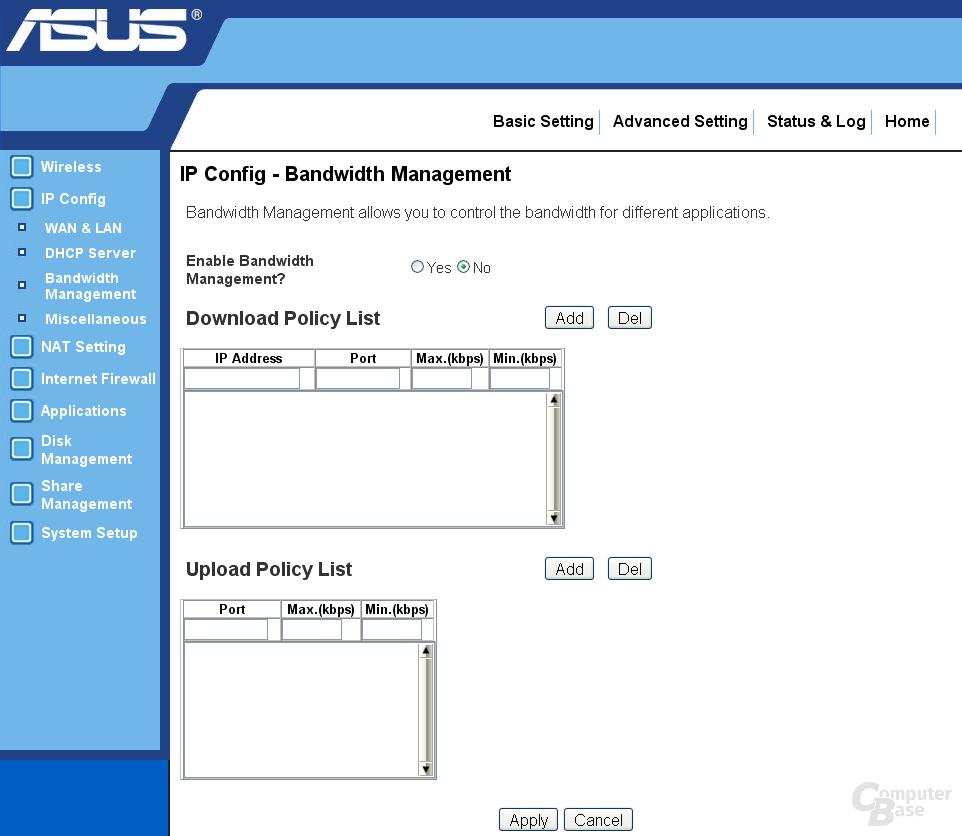 Bandwidth Management Konfiguration