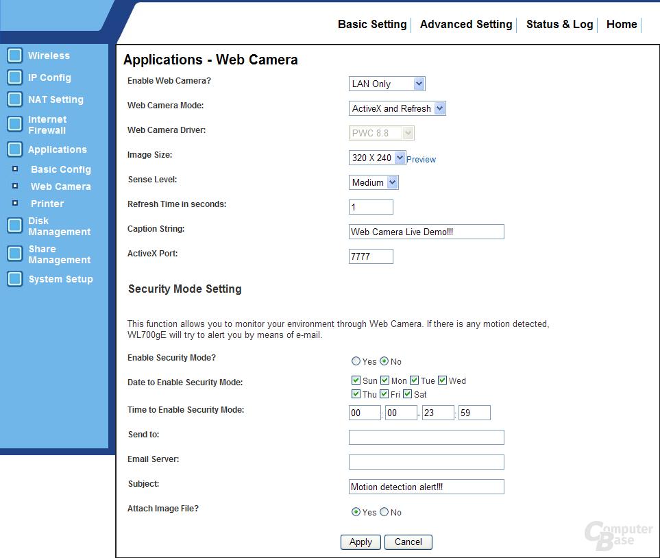 WebCam-Konfiguration