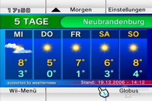 """Wetterkanal: Ansicht """"5 Tage Vorschau"""""""