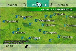 Wetterkanal: Globus, aktuelle Temperatur