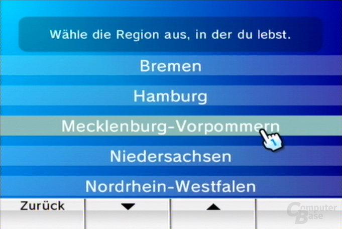 Auswahl der Region 1