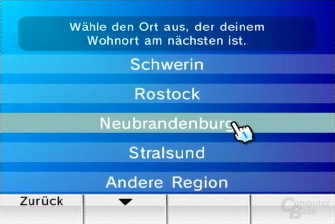 Auswahl der Region 2