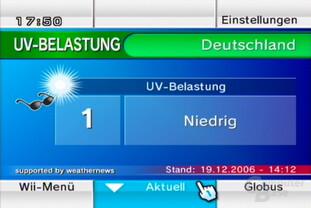 "Wetterkanal: Ansicht ""UV-Belastung"""