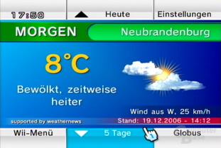 """Wetterkanal: Ansicht """"Wetter Morgen"""""""