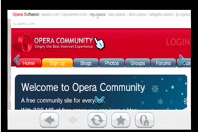 Internet-Kanal Testversion: Opera-Homepage