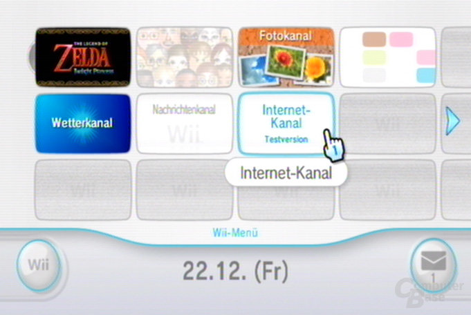 Internet-Kanal Testversion: im Wii-Menü