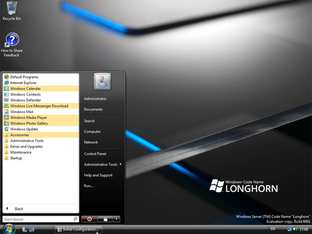 """Windows Server """"Codename"""" Longhorn Build 6001 - Vista-Theme kann nachträglich installiert werden"""